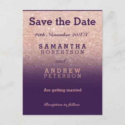Save the Date rose gold faux glitter purple ombre Announcements Cards