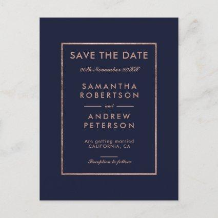 Save the Date rose gold frame navy blue wedding Announcement