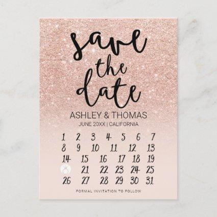 Save the Date Rose gold glitter calendar pink Announcement