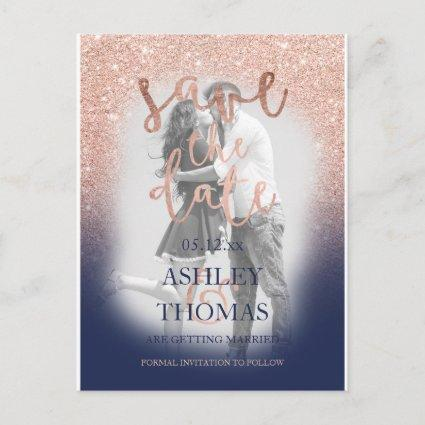 Save the Date rose gold glitter navy script photo Announcement