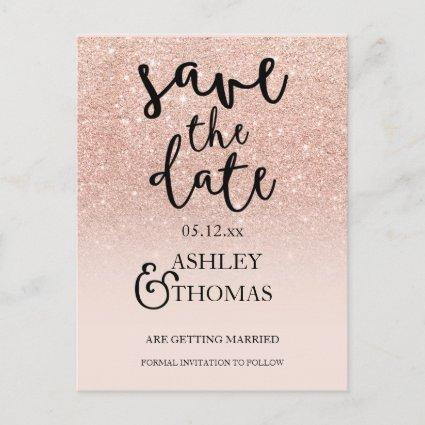 Save the Date Rose gold glitter pink ombre script Announcements Cards