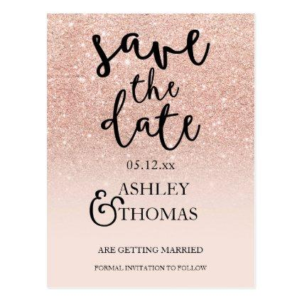 Rose gold glitter pink ombre script Cards