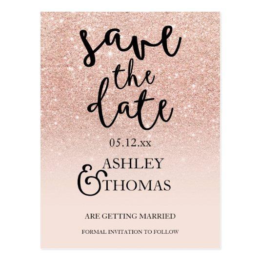 Save the Date Rose gold glitter pink ombre script Cards