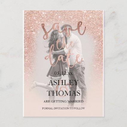 Save the Date rose gold glitter script photo Announcements Cards
