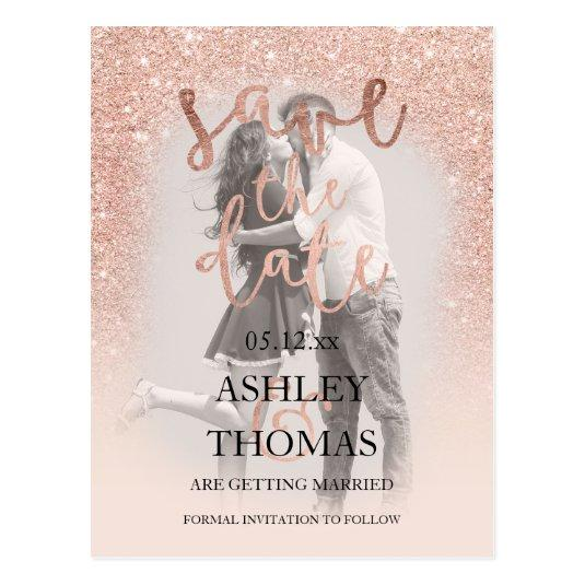 Save the Date rose gold glitter script photo