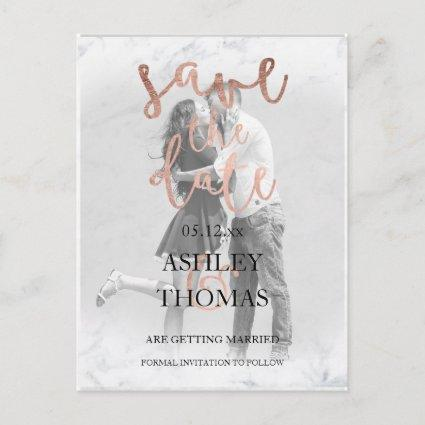Save the Date rose gold script white marble photo Announcement