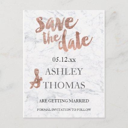 Save the Date Rose gold typography marble Announcement