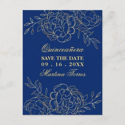 Save the Date Royal Blue and Gold Fine Art Floral Announcement