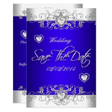 Royal blue Wedding White Diamond Hea Cards