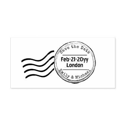 Save the Date Rubber Wedding Stamp POSTAGE style 2
