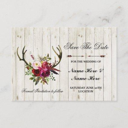 Save The Date Rustic Antlers Stag Floral Invite