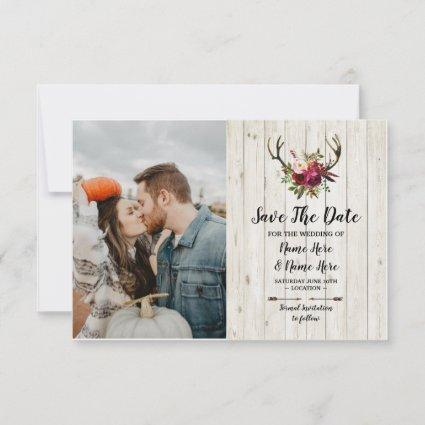 Save The Date Rustic Antlers Stag Floral Photo
