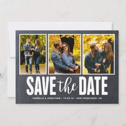 Save the Date Rustic Chalkboard 3 Photo Collage