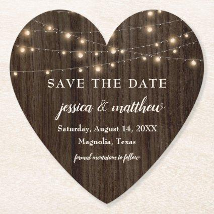 Save the Date Rustic Farmhouse String Lights Paper Coaster