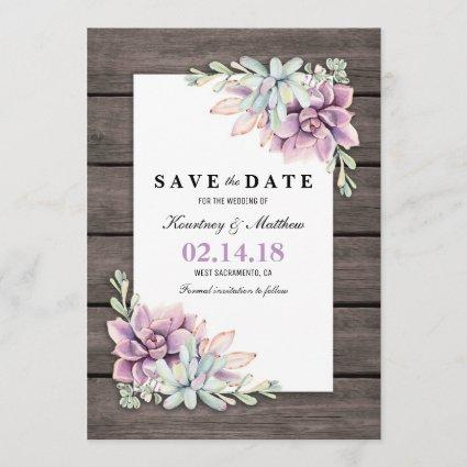 Save the Date Rustic Garden Succulent Floral