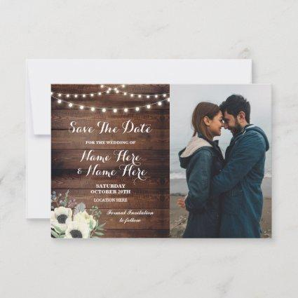 Save The Date Rustic Photo Floral Anemone
