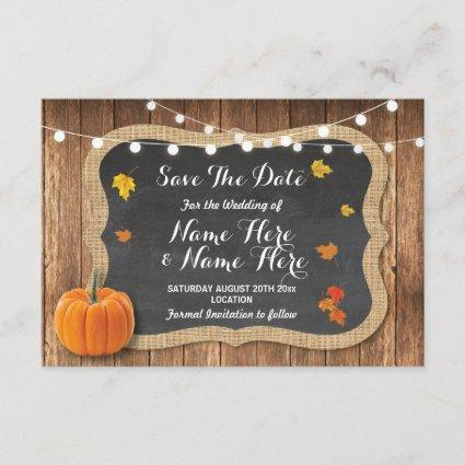 Save The Date Rustic Pumpkin Lights Chalk Wood