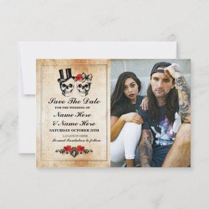 Save The Date Rustic Skulls Photo Card Gothic