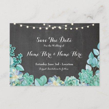 Save The Date Rustic Succulents Mint Chalk Invite