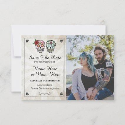 Save The Date Rustic Sugar Skulls Photo Card