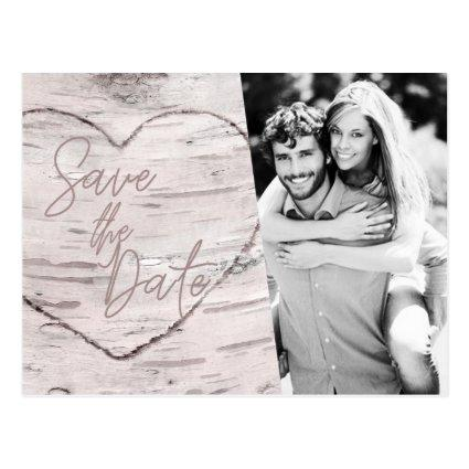 Save the Date Rustic White Birch Engagement Photo