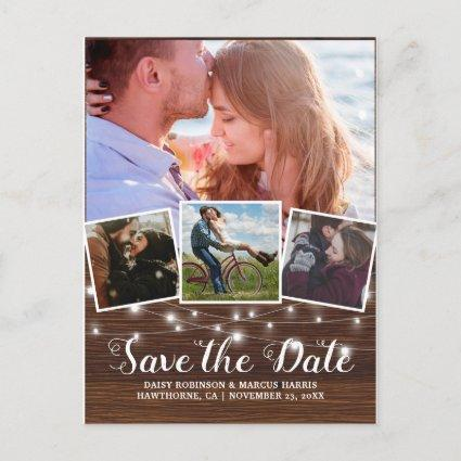 Save The Date Rustic Wood 4 Photo Announcement