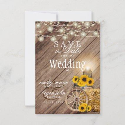 Save the Date Rustic Wood Barrel- Sunflower