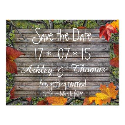 Save the Date rustic wood camo fall leaves Magnetic Invitation