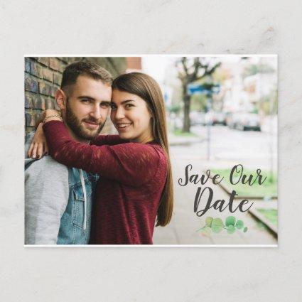 Save The Date Rustic Wood & Eucalyptus Botanical Announcement