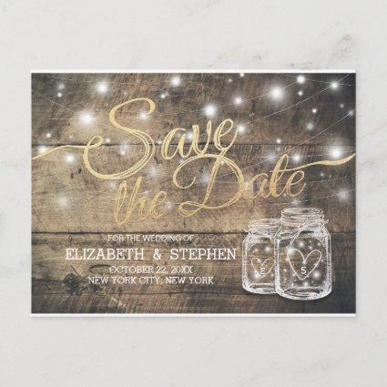 Save The Date Rustic Wood Mason Jar String Lights Announcement