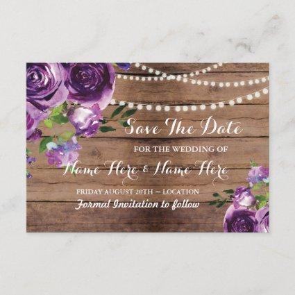 Save The Date Rustic Wood Purple Flowers Invite