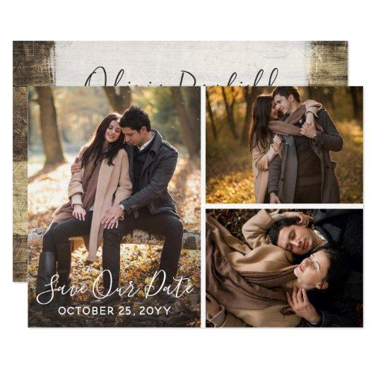 Save The Date Rustic Wood Wedding Photo Collage Card