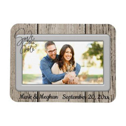 Save the Date Rustic Wooden with Magnets