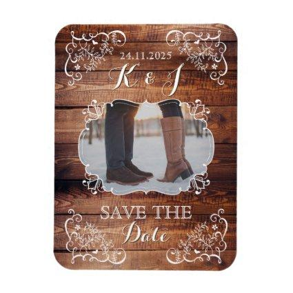 Save the Date Rustic Woodland Wedding Photo Wood Magnet