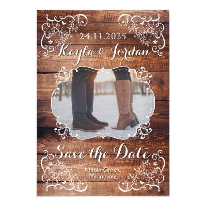 Save the Date Rustic Woodland Wedding Photo Wood Magnetic Invitation