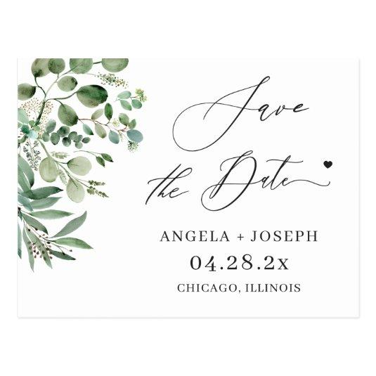 Save the Date Script Simple Elegant Eucalyptus