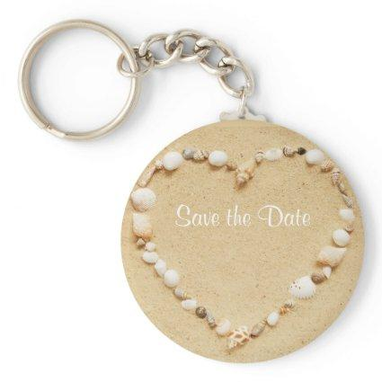 Save the Date Seashell Heart Keychain