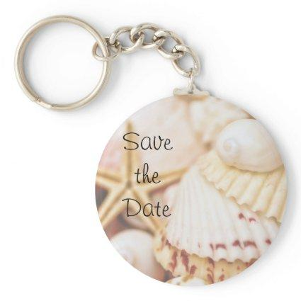 Save the Date Seashell Keychain