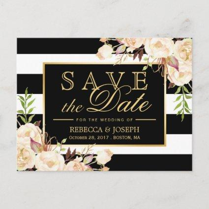 Save the Date - Shades of Ivory Floral Stripes Announcements Cards