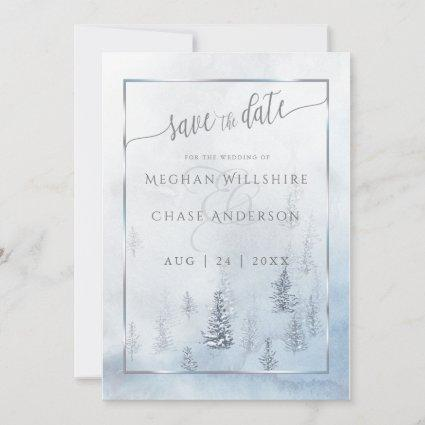 Save the Date | Silver Blue Winter Wonderland