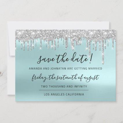 Save The Date Silver Gray Blue Spark Drips Aqua