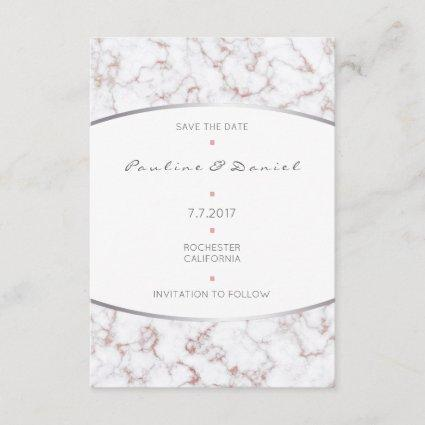 Save The Date Silver Pink Rose Gold Glitter Marble