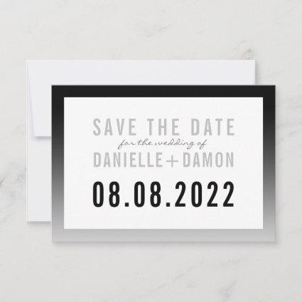 SAVE THE DATE simple block type modern black ombre RSVP Card