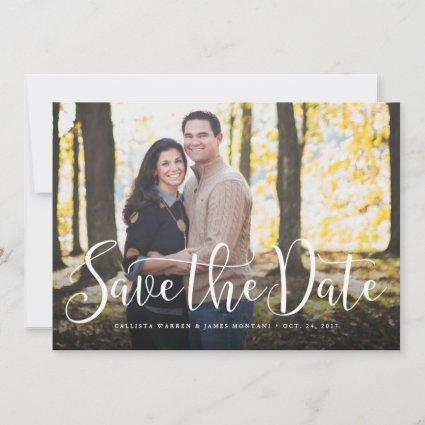 Save the date simple script horizontal photo card