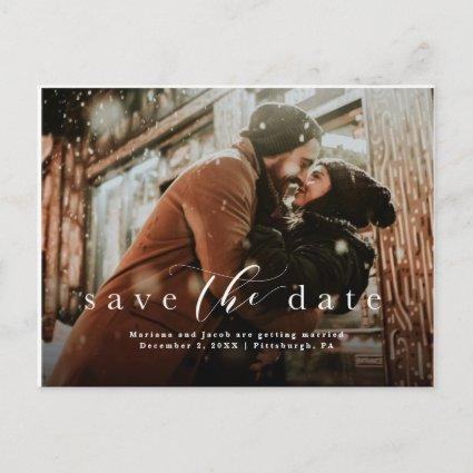 Save the date simple script photo announcement