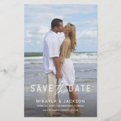 Save the Date Simple White Text Photo Overlay