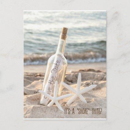 Save The Date starfish and message in a bottle Announcement