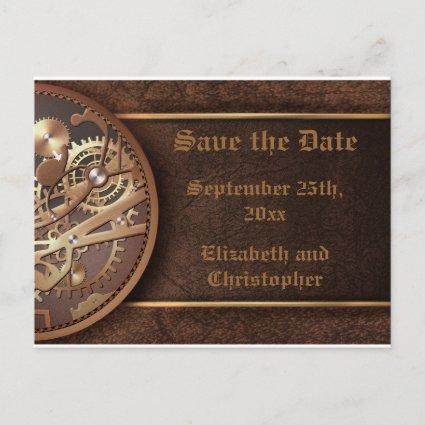 Save the date steampunk gears gold brown announcement