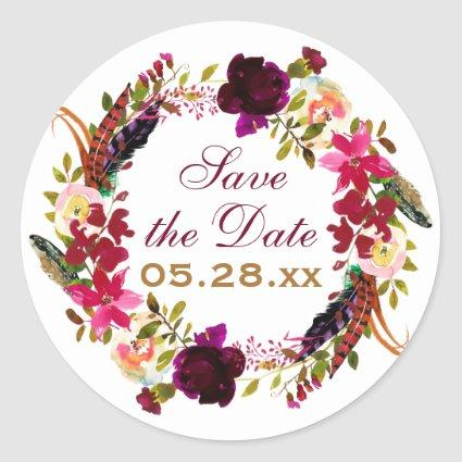 Save the Date Sticker - Burgundy Floral, Feathers