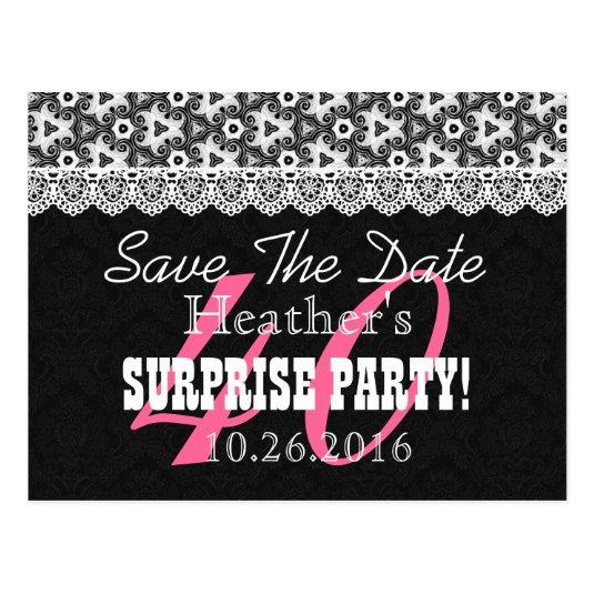 Save The Date Surprise 40th Birthday V010a Black Save The
